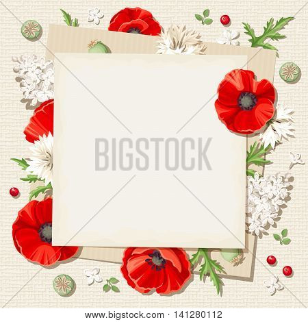 Vector rustic card with red poppies and white lilac flowers and cornflowers on a sacking background.