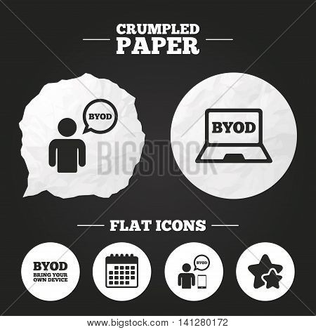 Crumpled paper speech bubble. BYOD icons. Human with notebook and smartphone signs. Speech bubble symbol. Paper button. Vector