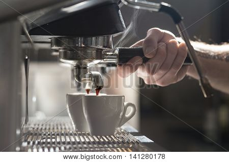 Coffee Making Process; Espresso Cup And Coffee Machine;