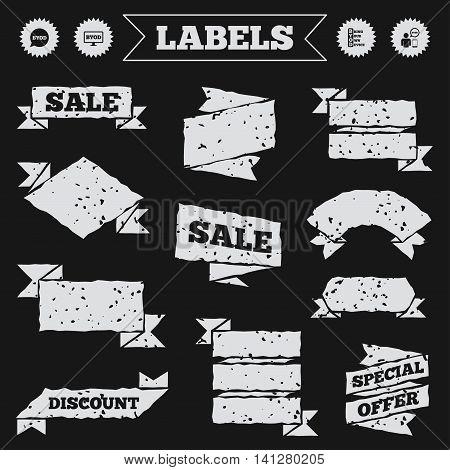 Stickers, tags and banners with grunge. BYOD icons. Human with notebook and smartphone signs. Speech bubble symbol. Sale or discount labels. Vector