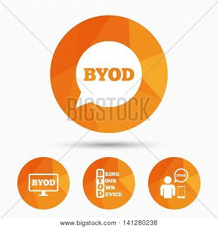 BYOD icons. Human with notebook and smartphone signs. Speech bubble symbol. Triangular low poly buttons with shadow. Vector
