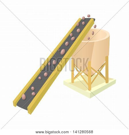Conveyor for loading of chemical raw materials icon in cartoon style isolated on white background. Chemistry symbol