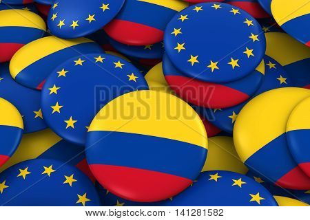 Colombia And Europe Badges Background - Pile Of Colombian And European Flag Buttons 3D Illustration