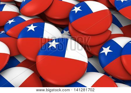 Chile Badges Background - Pile Of Chilean Flag Buttons 3D Illustration