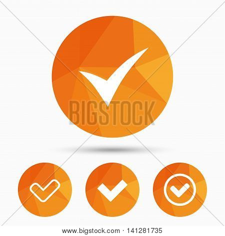 Check icons. Checkbox confirm circle sign symbols. Triangular low poly buttons with shadow. Vector