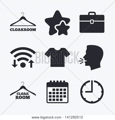 Cloakroom icons. Hanger wardrobe signs. T-shirt clothes and baggage symbols. Wifi internet, favorite stars, calendar and clock. Talking head. Vector