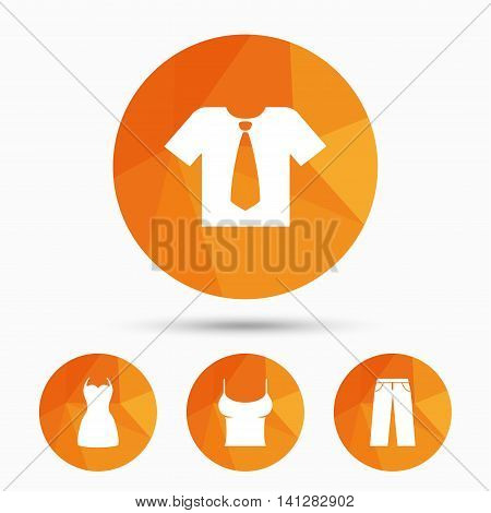 Clothes icons. T-shirt with business tie and pants signs. Women dress symbol. Triangular low poly buttons with shadow. Vector