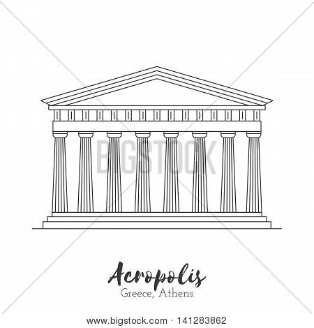 Athens Greece. Acropolis in black thin line isolated on white background. European landmark. Icon architectural monument and world tourist attraction. Black and white vector illustration.