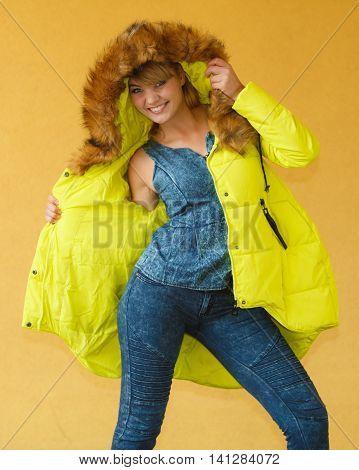 Fashion Girl In Lemon Color Jacket.