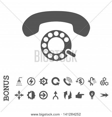 Pulse Dialing vector icon. Image style is a flat iconic symbol, gray color, white background.