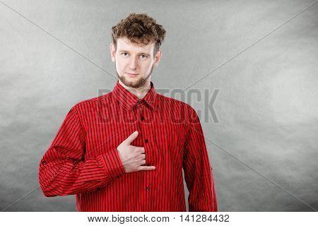 Elegant Man In Red Shirt