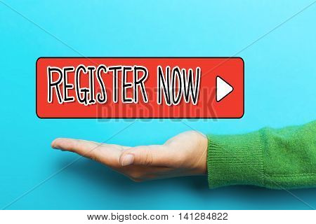 Register Now Concept With Hand