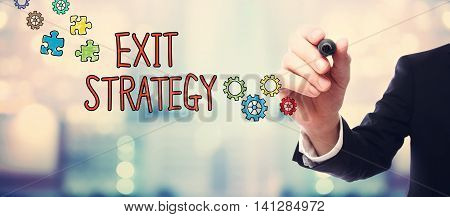 Businessman Drawing Exit Strategy Concept