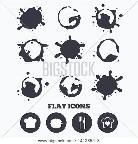 Paint, coffee or milk splash blots. Chief hat and cooking pan icons. Fork and knife signs. Boil or stew food symbols. Smudges splashes drops. Vector