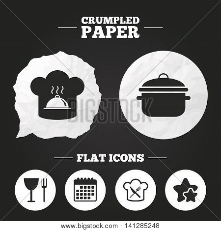 Crumpled paper speech bubble. Chief hat and cooking pan icons. Crosswise fork and knife signs. Boil or stew food symbols. Paper button. Vector