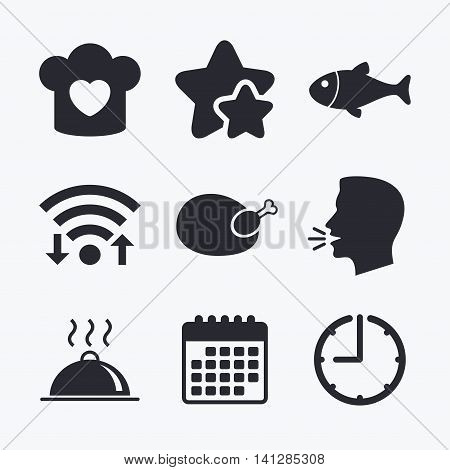 Chief hat with heart and cooking pan icons. Fish and chicken signs. Hot food platter serving symbol. Wifi internet, favorite stars, calendar and clock. Talking head. Vector