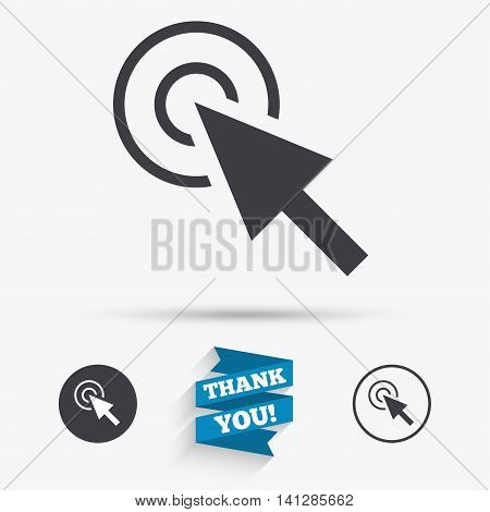 Mouse cursor sign icon. Pointer symbol. Flat icons. Buttons with icons. Thank you ribbon. Vector