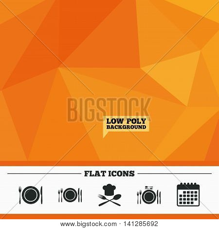 Triangular low poly orange background. Plate dish with forks and knifes icons. Chief hat sign. Crosswise cutlery symbol. Dining etiquette. Calendar flat icon. Vector