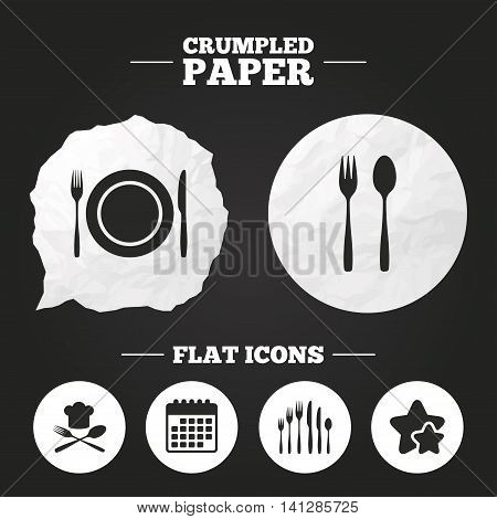 Crumpled paper speech bubble. Plate dish with forks and knifes icons. Chief hat sign. Crosswise cutlery symbol. Dessert fork. Paper button. Vector