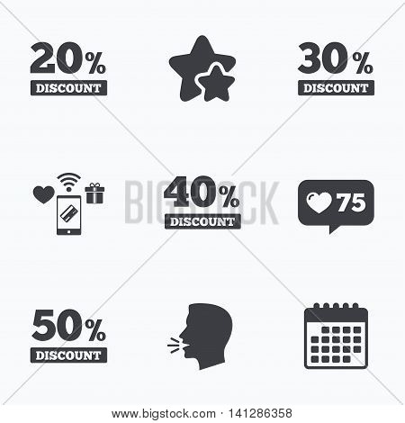 Sale discount icons. Special offer price signs. 20, 30, 40 and 50 percent off reduction symbols. Flat talking head, calendar icons. Stars, like counter icons. Vector