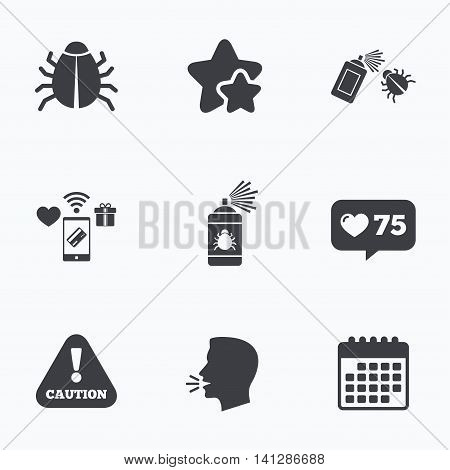 Bug disinfection icons. Caution attention symbol. Insect fumigation spray sign. Flat talking head, calendar icons. Stars, like counter icons. Vector