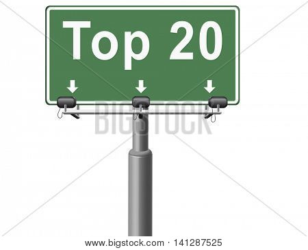 top 20 charts list pop poll result and award winners chart ranking music hits best top twenty quality rating prize winner sign  3D illustration