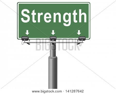 Strength way to power vitality and energy button icon find or search power, road sign billboard. 3D illustration