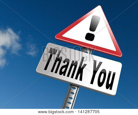 thank you vary much many thanks sign showing gratitude 3D illustration