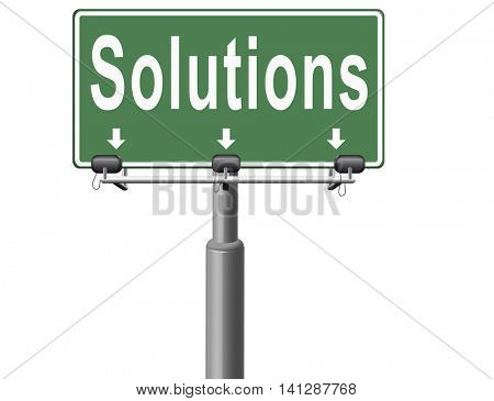 solutions solve problems and search and find a solution road sign billboard 3D illustration