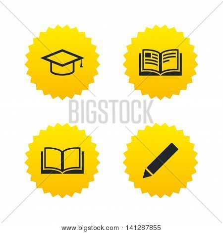 Pencil and open book icons. Graduation cap symbol. Higher education learn signs. Yellow stars labels with flat icons. Vector