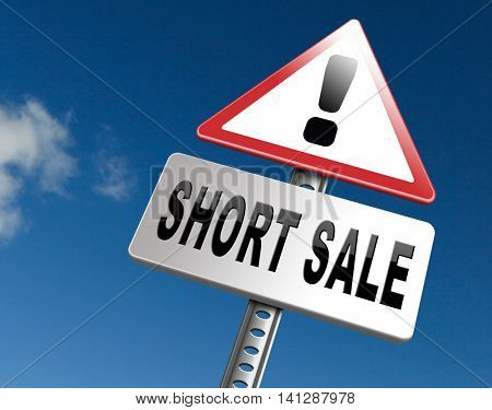 short sale sign reduced prices sales billboard 3D illustration