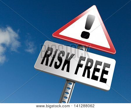 risk free 100% satisfaction high product quality guaranteed safe investment web shop warranty no risks and safety first billboard sign  3D illustration
