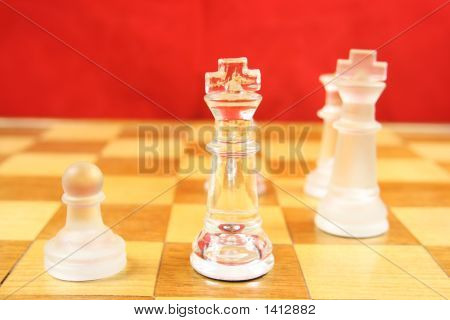 Chess Game With A Red Background