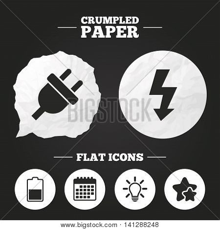 Crumpled paper speech bubble. Electric plug icon. Light lamp and battery half symbols. Low electricity and idea signs. Paper button. Vector