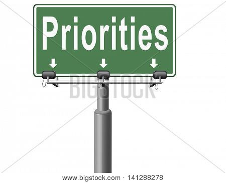 Priorities important very high urgency info lost importance crucial information top priority, road sign billboard. 3D illustration