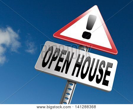 open house for sale or rent, buying or selling real estate 3D illustration