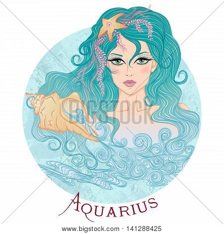 Zodiac. Vector illustration of the astrological sign of Aquarius as a beautiful girl with long hair. Round shape