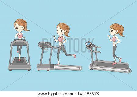 slim woman is running on the Treadmill