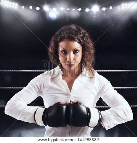 Determined businesswoman ready to fight with competitors