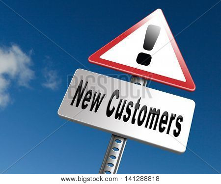 New customers attract buyers increase traffic by product marketing service and promotion study customer base and profile, road sign billboard. 3D illustration