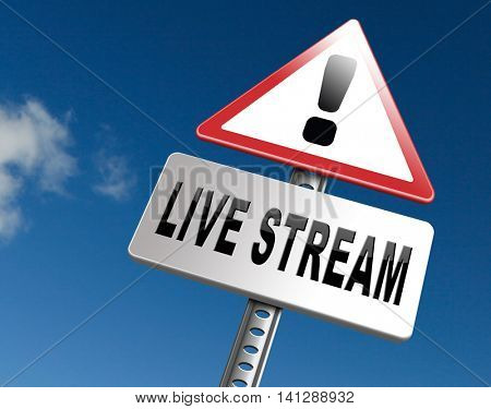 live stream music song audio or listen to radio streaming video road sign billboard 3D illustration