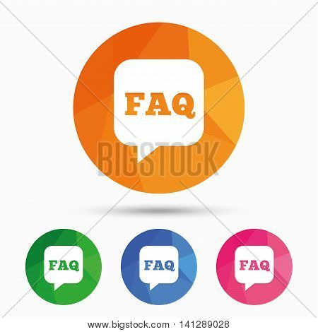 FAQ information sign icon. Help speech bubble symbol. Triangular low poly button with flat icon. Vector