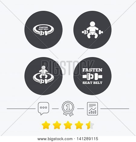 Fasten seat belt icons. Child safety in accident symbols. Vehicle safety belt signs. Chat, award medal and report linear icons. Star vote ranking. Vector