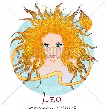 Zodiac. Vector illustration of the astrological sign of Leo as a beautiful girl with long hair. Round shape