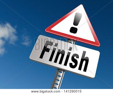 finish the end of the competition an exit out of problems road sign, billboard. 3D illustration