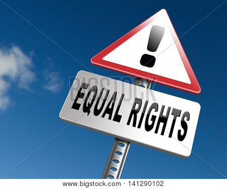 Equal rights no discrimination and same opportunities for all women man disabled black and white solidarity discrimination of people with disability  3D illustration