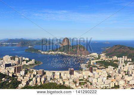 Sugarloaf mountain Guanabara bay Botafogo beach Rio de Janeiro Brazil