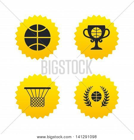 Basketball sport icons. Ball with basket and award cup signs. Laurel wreath symbol. Yellow stars labels with flat icons. Vector