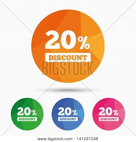 20 percent discount sign icon. Sale symbol. Special offer label. Triangular low poly button with flat icon. Vector
