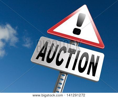 online auction Selling and buying on the internet of products cars houses and real estate. 3D illustration